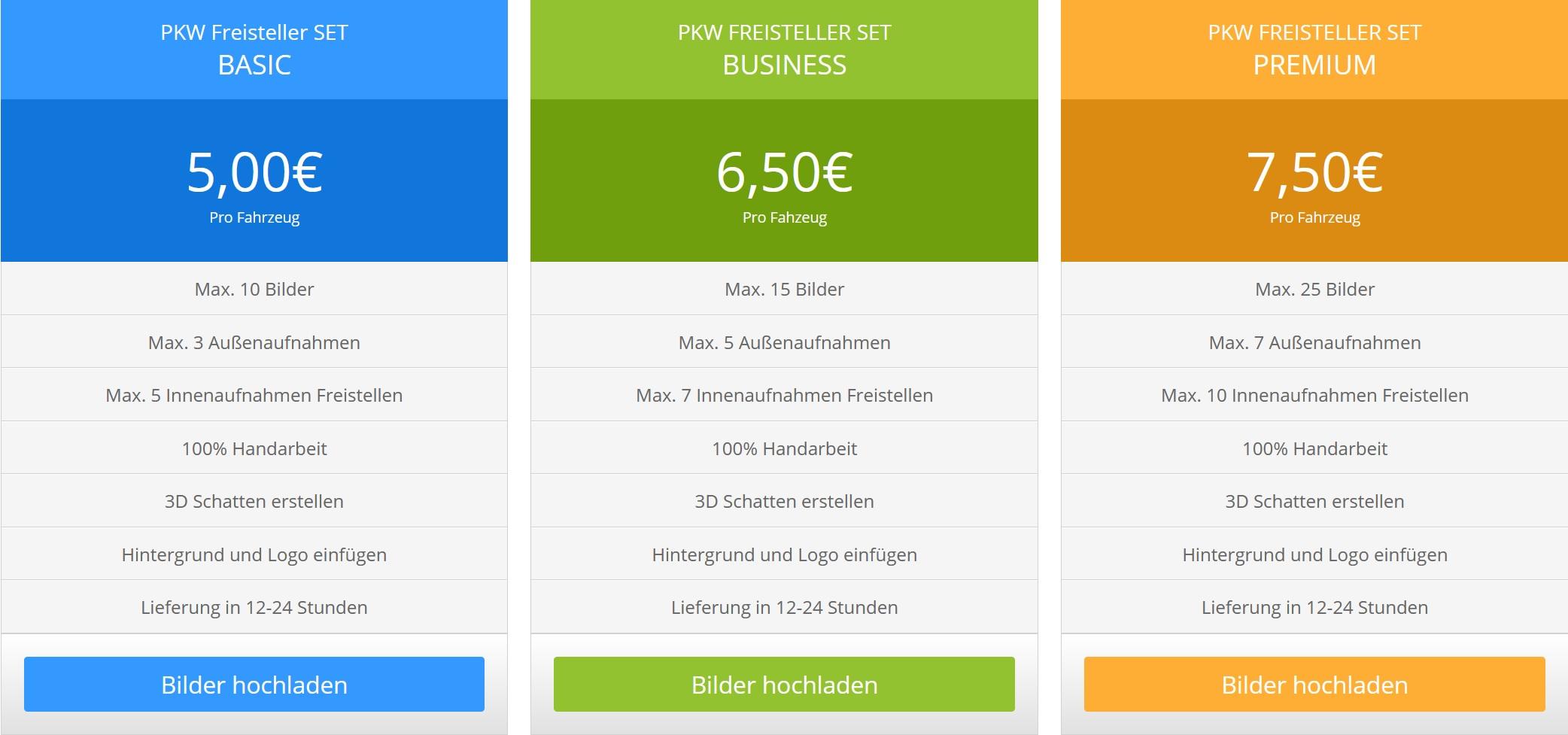 PKW und Fahrzeug-Freisteller-SET-Preis