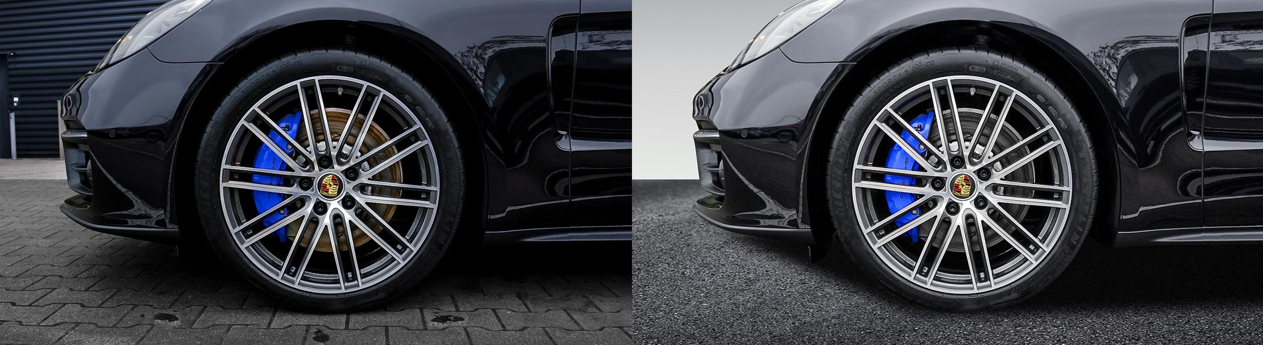 Rost von Bremsscheiben entfernen Auto Freisteller Bildbearbeitung
